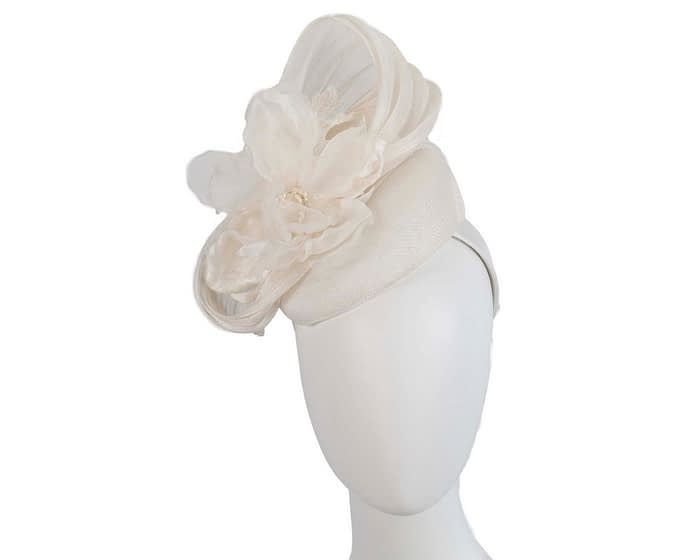 Fascinators Online - Cream pillbox fascinator with large flower by Fillies Collection 1