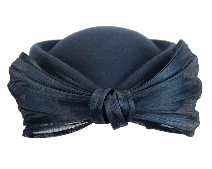 Fascinators Online - Navy felt ladies fashion beret hat with bow by Fillies Collection 8