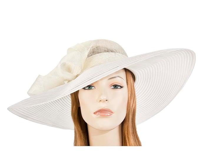 Fascinators Online - Wide brim cream fashion hat by Max Alexander 1