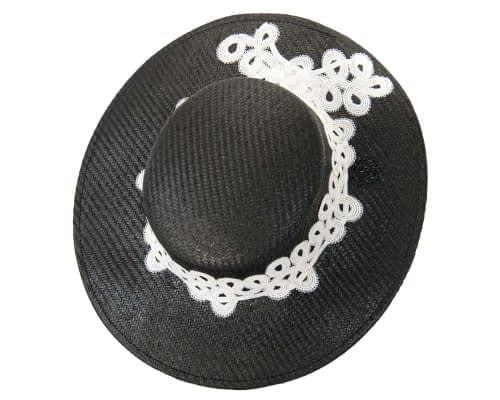 Fascinators Online - Black & white fashionable boater hat with lace 2