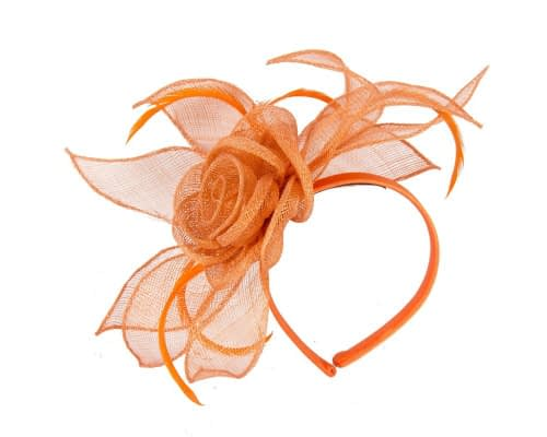 Fascinators Online - Large orange sinamay racing fascinators 2