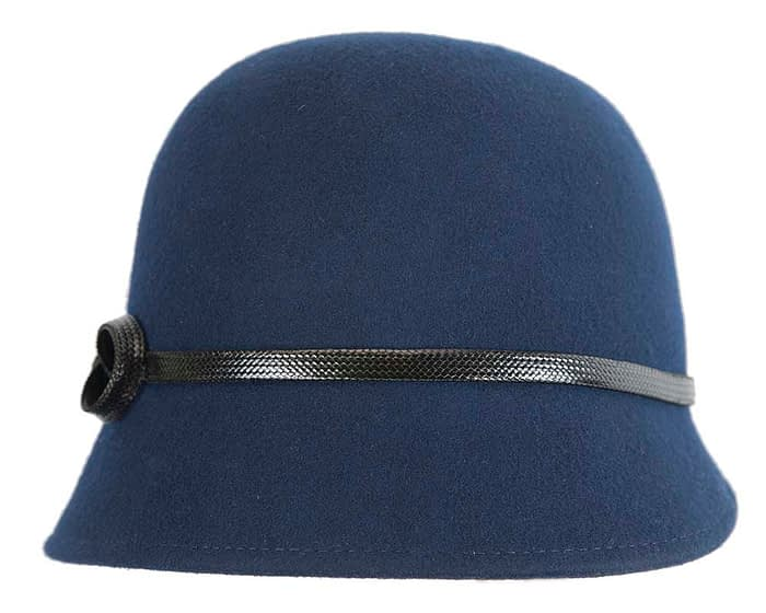 Fascinators Online - Navy felt cloche hat by Max Alexander 4