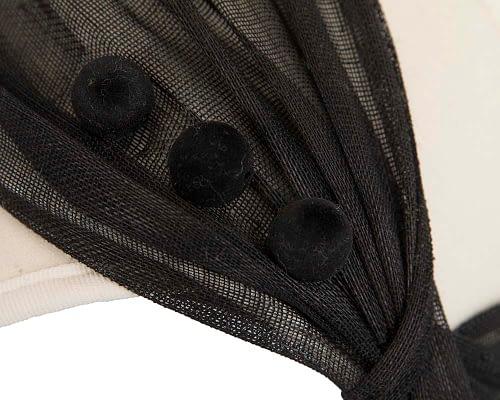 Fascinators Online - Cream & black felt crown fascinator by Fillies Collection 3
