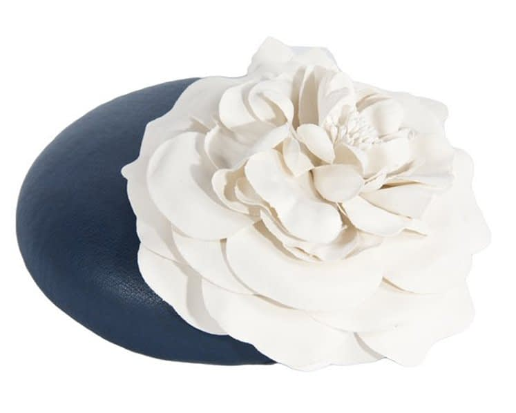 Navy Cream leather pillbox fascinator J333NC