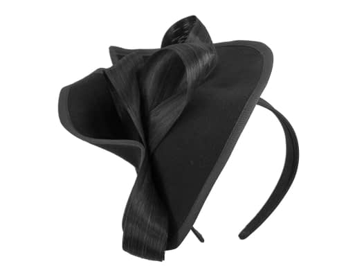Fascinators Online - Black felt twist with bow by Fillies Collection 2