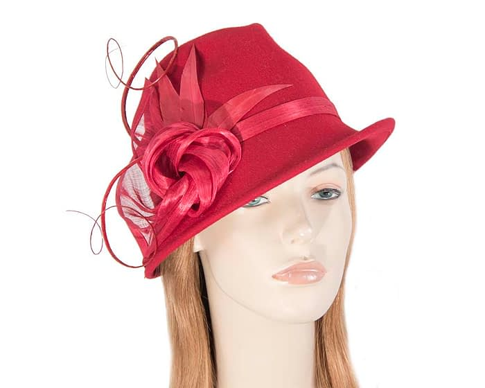 Fascinators Online - Exclusive red felt trilby hat by Fillies Collection 1