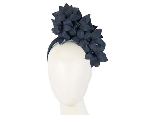 Fascinators Online - Navy leather flower headband by Fillies Collection 1