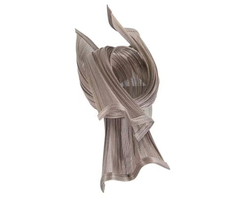 Fascinators Online - Twisted nudsilver jinsin racing fascinator by Fillies Collection 3