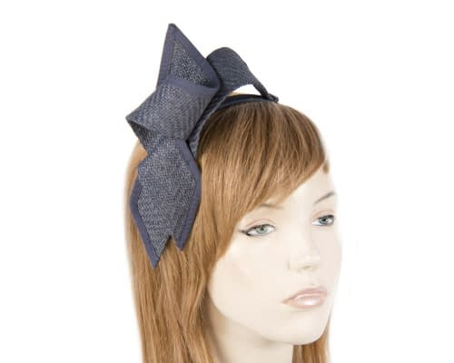 Navy racing bow fascinator by Max Alexander