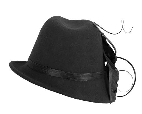Fascinators Online - Exclusive black felt trilby hat by Fillies Collection 3
