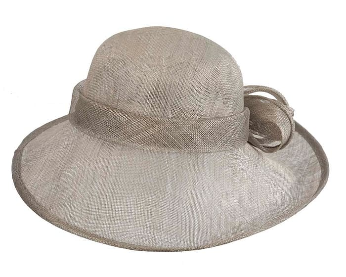 Fascinators Online - Wide brim silver sinamay racing hat by Max Alexander 4