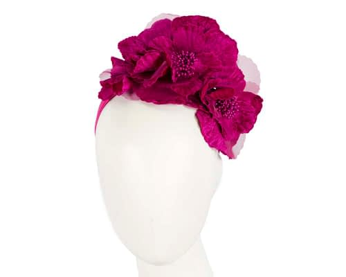 Fascinators Online - Fuchsia flowers on the headband 3