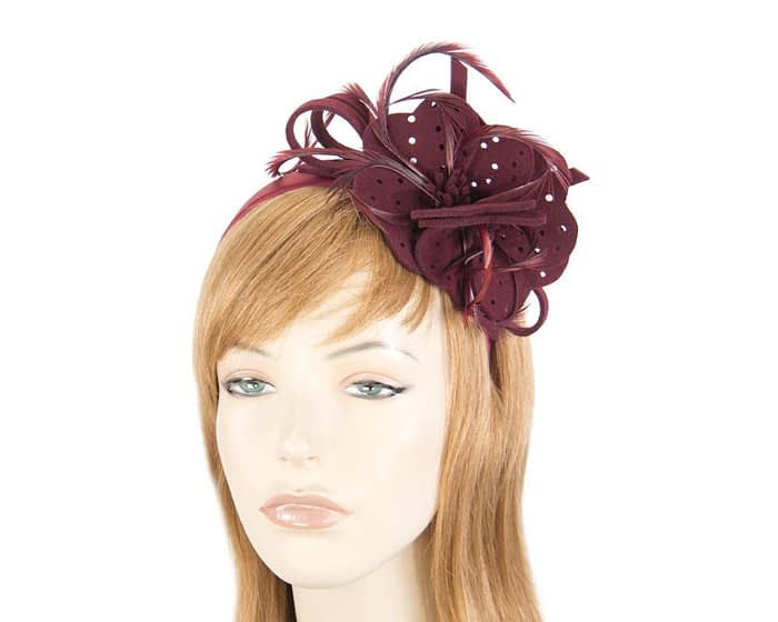 Fascinators Online - Wine felt flower and feathers winter fascinator 1