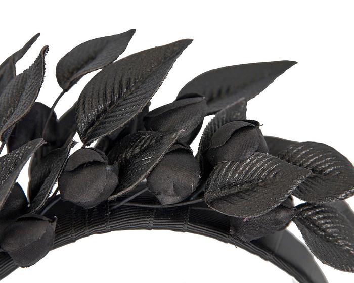 Fascinators Online - Black leather hand-made racing fascinator by Max Alexander 3