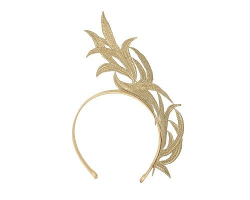 Fascinators Online - Gold lace crown fascinator by Max Alexander 2