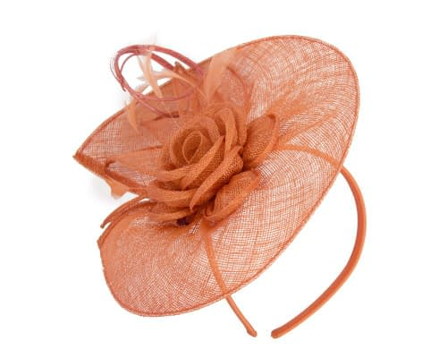 Fascinators Online - Large orange sinamay racing fascinator with feathers by Max Alexander 2