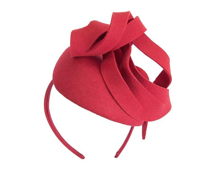 Fascinators Online - Unusual red felt pillbox fascinator by Fillies Collection 6