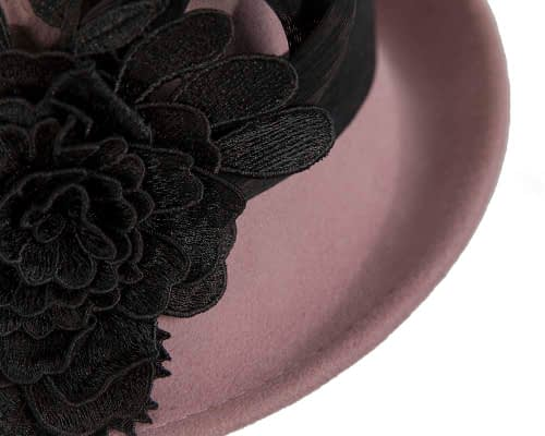 Fascinators Online - Exclusive dusty pink felt cloche hat with lace by Fillies Collection 5