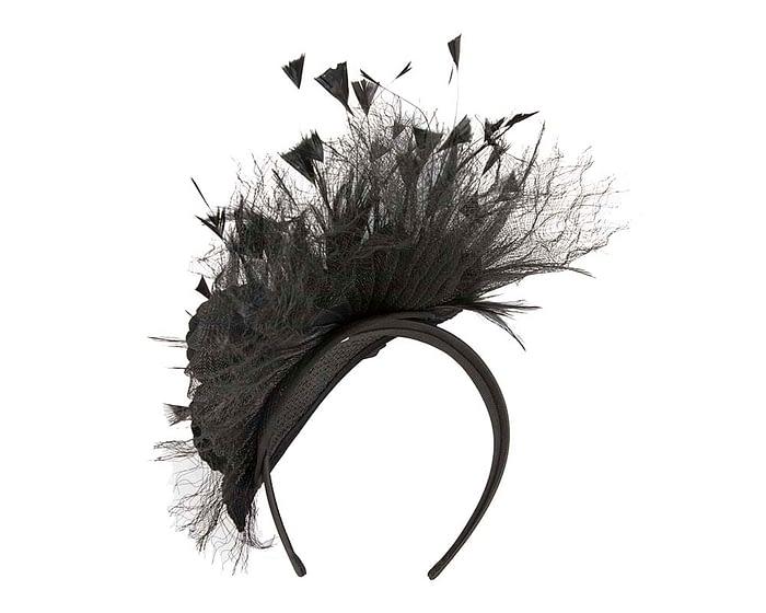 Fascinators Online - Black flower & feathers racing fascinator 3