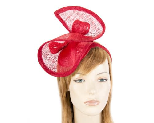 Fascinators Online - Red sinamay racing fascinator by Max Alexander 23
