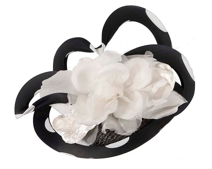 Fascinators Online - Large designers black and ivory fascinator by Fillies Collection 2
