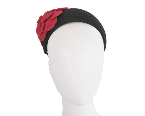 Fascinators Online - Wide headband black winter fascinator with red flower by Max Alexander 74