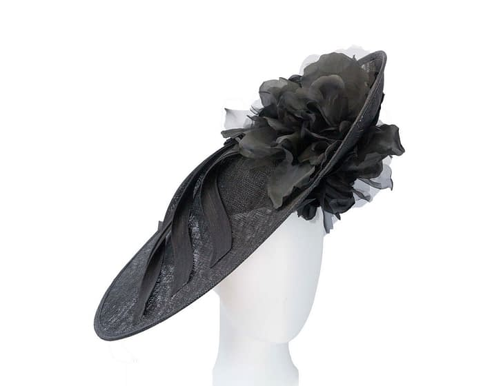 Fascinators Online - Large black plate racing fascinator by Fillies Collection 1