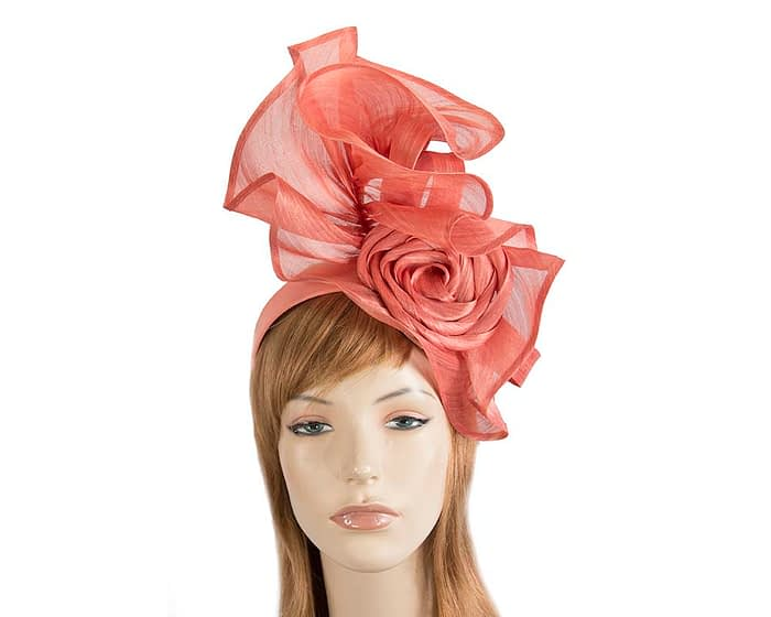Fascinators Online - Coral sculptured silk abaca fascinator by Fillies Collection 1