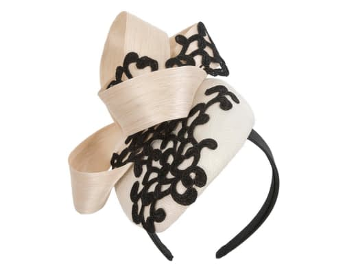 Fascinators Online - Cream pillbox fascinator with black lace by Fillies Collection 2