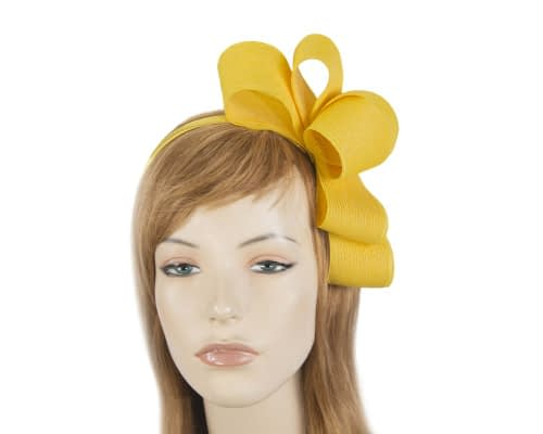 Fascinators Online - Large yellow bow racing fascinator by Max Alexander 30