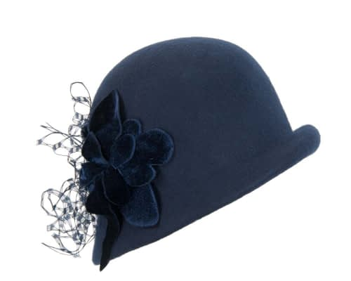 Fascinators Online - Navy felt bucket hat 1