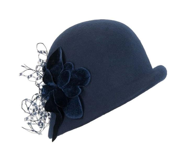 Fascinators Online - Navy felt bucket hat 1