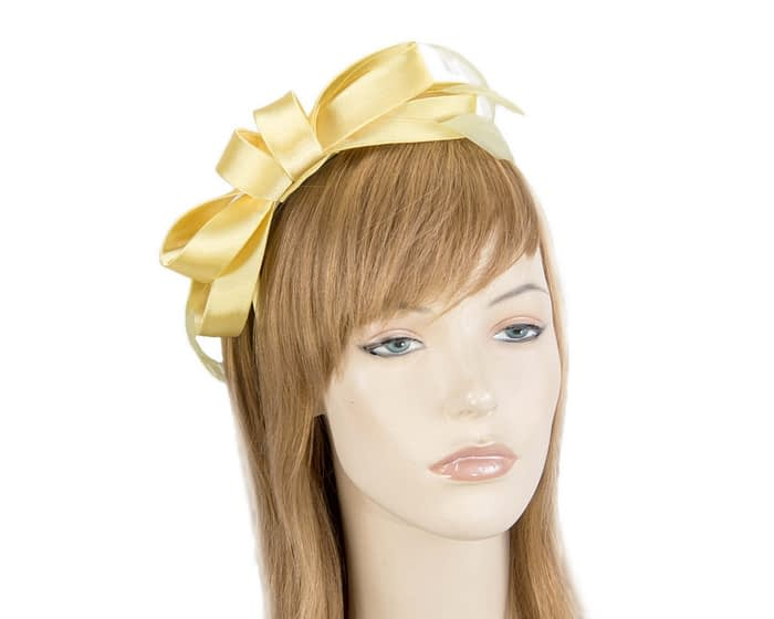 Fascinators Online - Yellow satin bow racing fascinator with feathers by Max Alexander 1