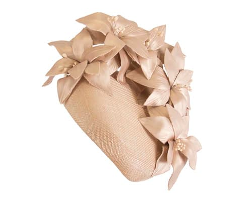 Fascinators Online - Gold leather flower pillbox fascinator by Fillies Collection 2