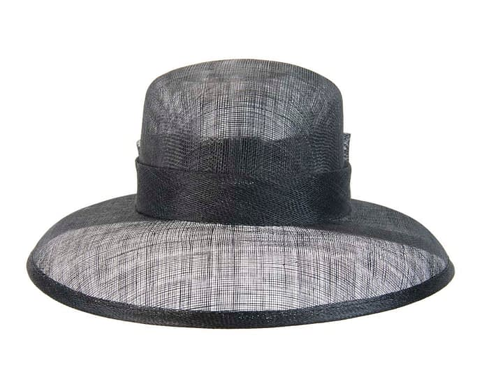 Fascinators Online - Black sinamay hat by Max Alexander 2