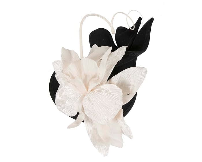 Fascinators Online - Black and Cream winter felt fascinator by Fillies Collection 3