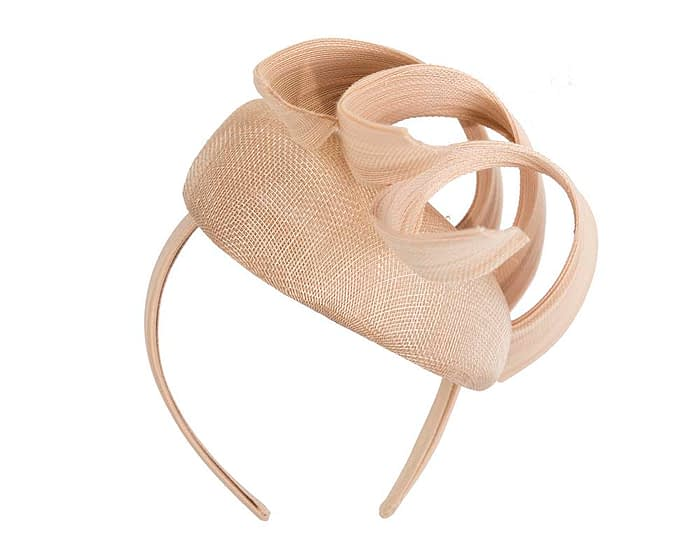 Fascinators Online - Nude pillbox racing fascinator with jinsin trim by Fillies Collection 6