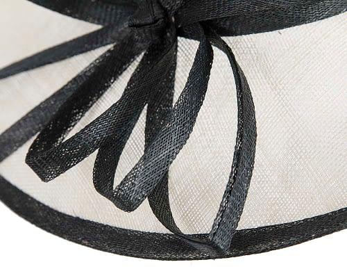 Fascinators Online - Cream & Black ladies sinamay racing hat by Max Alexander 5