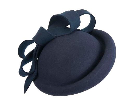 Fascinators Online - Large navy felt fascinator hat by Fillies Collection 2