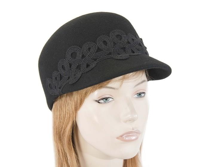 Fascinators Online - Black felt ladies cap with lace 1