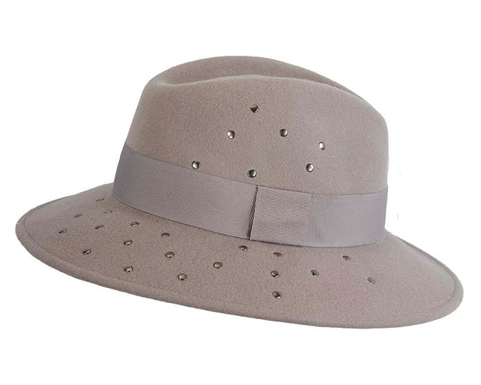 Fascinators Online - Wide brim grey felt fedora hat by Max Alexander 3