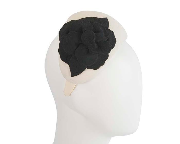 Fascinators Online - Wide headband cream winter fascinator with black flower by Max Alexander 2