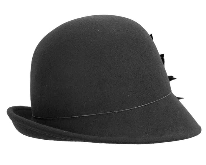 Fascinators Online - Black felt cloche hat with lace by Max Alexander 3