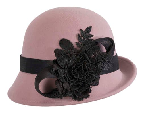 Fascinators Online - Exclusive dusty pink felt cloche hat with lace by Fillies Collection 4