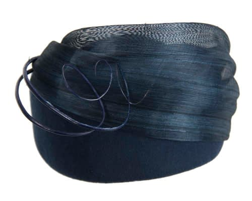 Fascinators Online - Navy felt ladies fashion beret hat with feather by Fillies Collection 5
