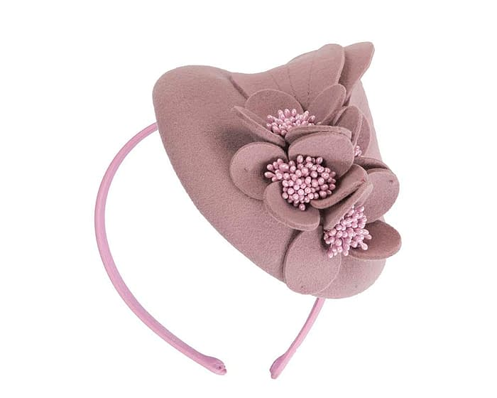 Fascinators Online - Dusty pink felt winter pillbox fascinator by Max Alexander 2