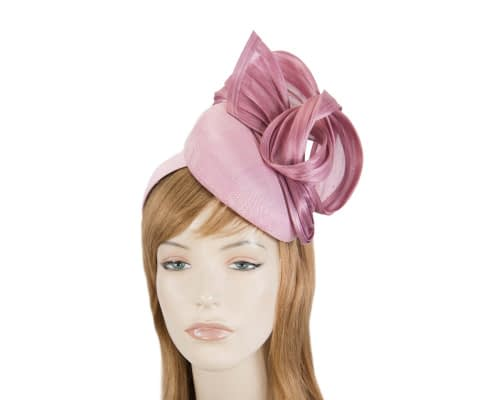 Fascinators Online - Dusty pink pillbox fascinator with silk bow by Fillies Collection 1