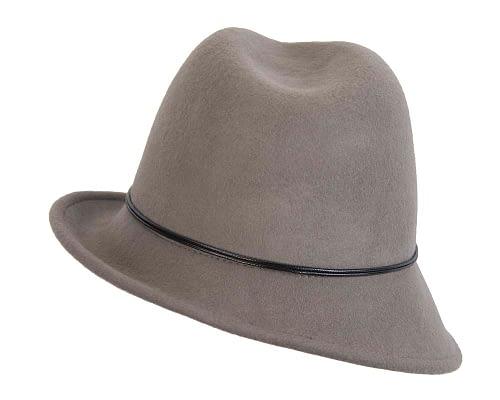 Fascinators Online - Grey felt trilby hat by Max Alexander 2