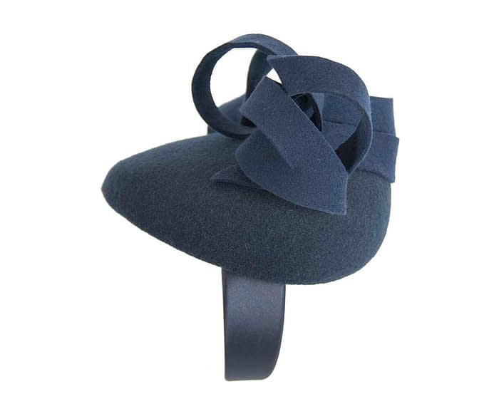 Fascinators Online - Unusual navy felt pillbox fascinator by Fillies Collection 4