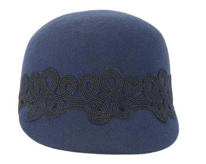 Fascinators Online - Navy felt ladies cap with lace 3